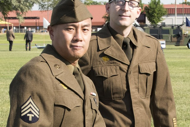 Sgt. Pham and Pvt. First Class Roach, two Dugway Soldiers, dressed in WWII period uniforms during the change of command ceremony, July 12, 2017, and during part of Dugway's 75th Anniversary celebration. Photo by John Smith, Dugway Proving Ground.