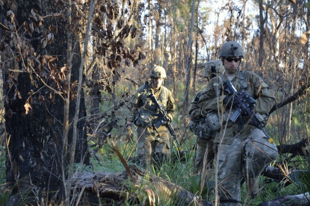 Soldiers from 1st Platoon, Charlie Company, 1-69 Infantry, New York Army National Guard conduct a reconnaissance and surveillance patrol as members of the Red Force in support of Exercise Talisman Sabre 2017 at the Shoalwater Bay Training Area, Queensland, Australia.