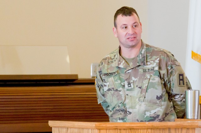 Sgt. 1st Class Danny Liccardi, Chaplain Assistant with First Army's 177th Armored Brigade at Camp Shelby, Miss., leads a discussion during training conducted by First Army Unit Ministry Team members for Mississippi Army National Guard Unit Ministry Teams at Camp Shelby, Feb. 4, 2017.