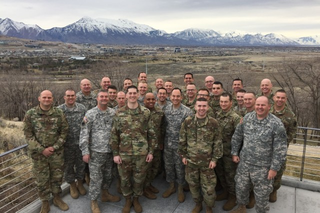 Participants in a three-day training event conducted by First Army Unit Ministry Teams for Utah Army National Guard Unit Ministry Teams pose for a picture at Camp Williams, Utah, March 5, 2017. The First Army religious leaders led training on topics including religious support planning, the Army operations process and changes in Army doctrine.