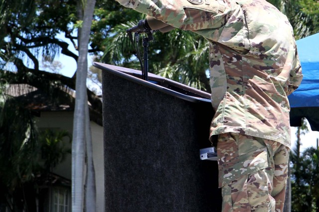 Brig. Gen. Douglas F. Anderson, incoming Commanding General of the 9th Mission Support Command, addresses the troops and guests at a change of command ceremony at Fort Shafter, Hawaii July 16, 2017. The 9th MSC held its Change of Command Ceremony, which was hosted by U.S. Army Gen. Robert B. Brown, Commander of U.S. Army Pacific, at historic Palm Circle. The change of command ceremony marks a transfer of total responsibility and authority from one individual to another. (Photo by U.S. Army Staff Sgt. David J. Overson, 305th MPAD)