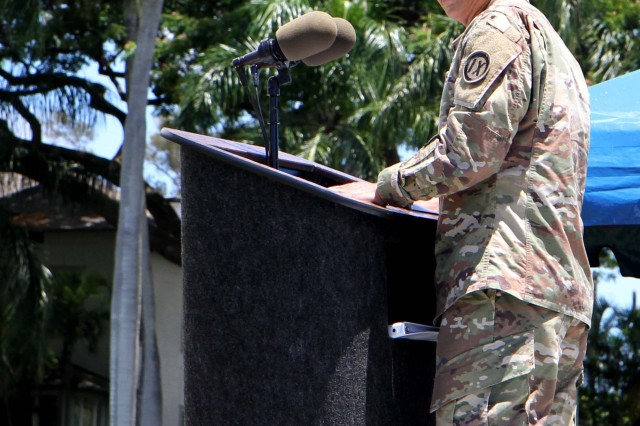 Brig. Gen. Stephen K. Curda, outgoing Commanding General of the 9th Mission Support Command, addresses the troops and guests at a change of command ceremony at Fort Shafter, Hawaii July 16, 2017. The 9th MSC held its Change of Command Ceremony, which was hosted by U.S. Army Gen. Robert B. Brown, Commander of U.S. Army Pacific, at historic Palm Circle. The change of command ceremony marks a transfer of total responsibility and authority from one individual to another. (Photo by U.S. Army Staff Sgt. David J. Overson, 305th MPAD)