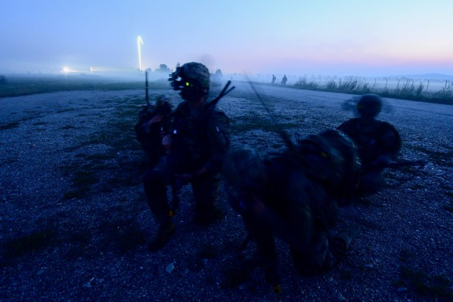 1st Battalion, 143rd Infantry Regiment from Texas and Rhode Army National Guard participate in a Joint Forcible Entry as part of Exercise Swift Response, in Cincu, Romania on July 22, 2017.