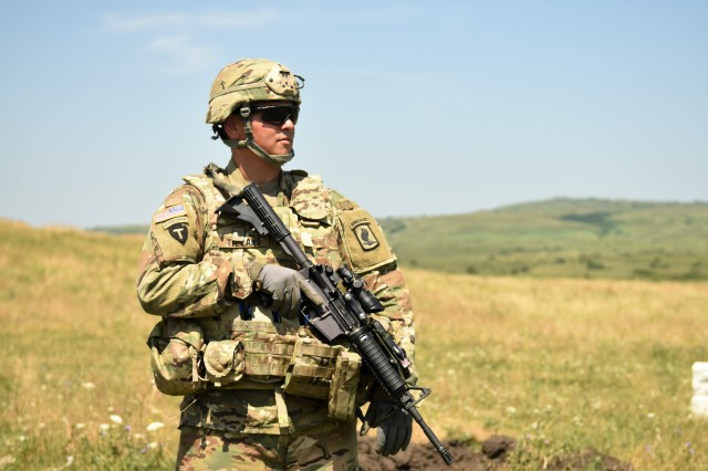 Sgt. Philip Tizzano from Charlie Company 1st. Bn., 143rd In. Regt. from Rhode Island Army National Guard participates in Exercise Swift Response, in Cincu, Romania on July 25, 2017.Photo by: Sgt. David Vermilyea