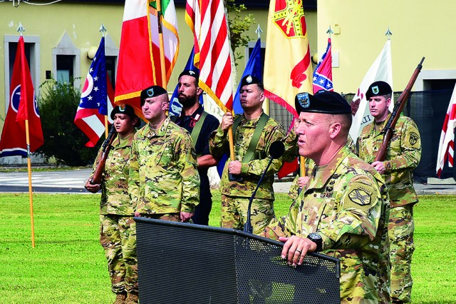 Col. Erik M. Berdy, USAG Italy incoming garrison commander, speaks during the garrison change of command ceremony on Caserma Ederle July 21.