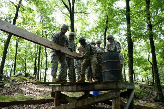 N.Y. National Guard Soldiers, students in the Future Leader Course, work through an obstacle on the Leader Reaction Course on the Camp Smith Training Site, Cortlandt Manor, N.Y., July 15, 2017. The Leader Reaction Course is meant to help Soldiers learn to work together as a team and control a difficult situation as a leader.The training was part of the New York Army National Guard's Future Leaders Course, a pilot program aimed at preparing Soldiers to become NCOs.