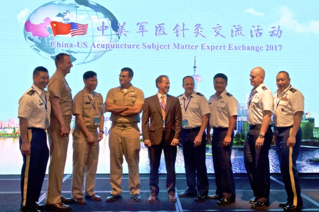 A joint U.S. Pacific Command delegation of physicians from the U.S. Army, U.S. Air Force, U.S. Navy and U.S. Marines exchange best practices in acupuncture and other complementary medical techniques in Shanghai with experts from the China People's Liberation Army during the 2017 U.S. and China acupuncture subject matter expert exchange, July 11-14, 2017.