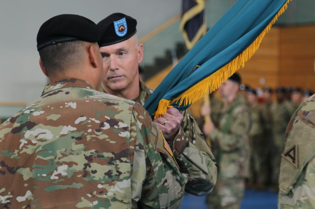 Grafenwoehr, Germany (July 28,2017) - Command Sgt. Maj. William L. Gardner assumes responsibility of the 7th Army Training Command, July 28. The ceremony took place at the Tower Barracks Physical Fitness Center, here.