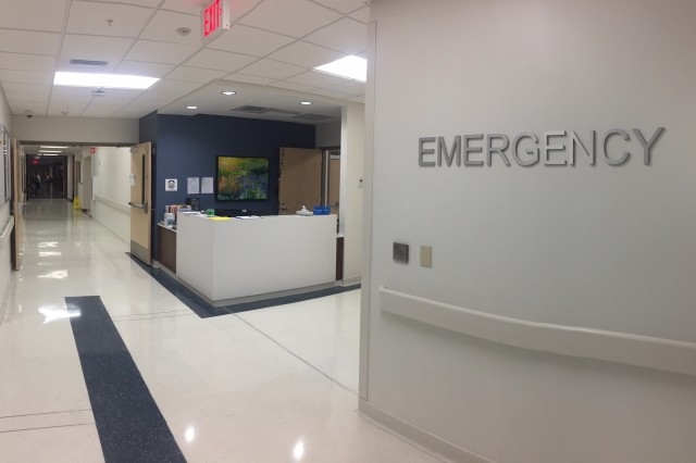 A photo of the reception area in the newly-renovated Keller Army Community Hospital Emergency Dept.