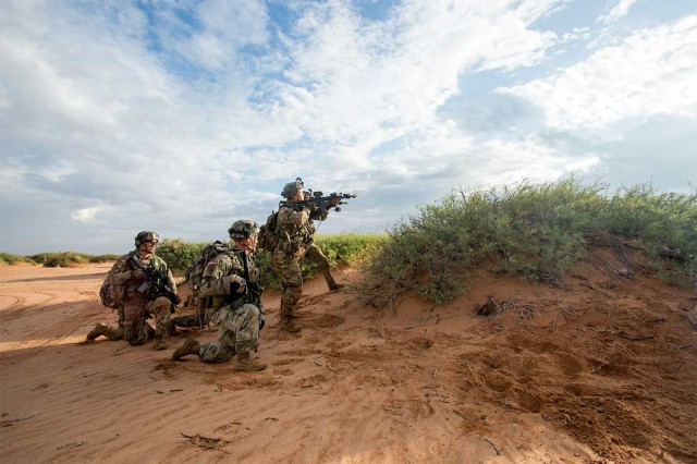 U.S. Soldiers of the 101st Airborne Division (Air Assault), participate in a simulated force-on-force training training exercise during the Network Integration Evaluation (NIE) 17.2 at Fort Bliss, Texas, July 15th, 2017. This annual exercise provides a test-bed for emerging concepts and capabilities in an operationally realistic and rigorous environment.