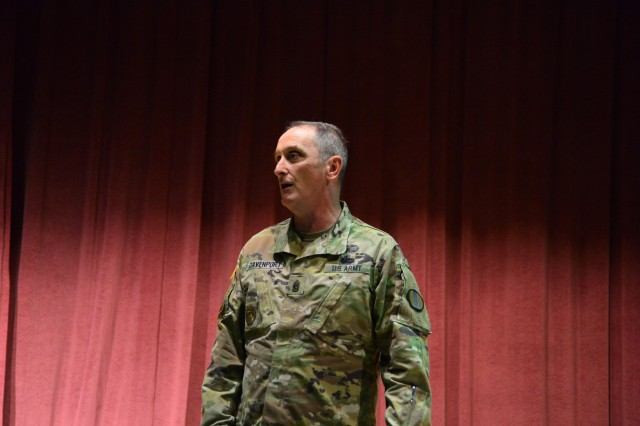 Command Sgt. Maj. Dave Davenport, command sergeant major for Training and Doctrine Command, joined Gen. David Perkins July 26, in his praise of the cadre for their work on their analysis, design and development of Noncommissioned Officer Professional Development System courses. Above, Davenport speaks to the cadre prior to the awards ceremony.