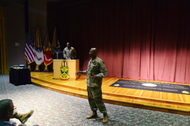 Members of the Curriculum Development and Education department of the U.S. Army Sergeants Major Academy were recognized July 26 by Training and Doctrine Command for their work on six levels of Noncommissioned Officer Professional Development System courses. Above, Command Sgt. Maj. Jimmy Sellers, commandant of USASMA introduces the TRADOC command team.