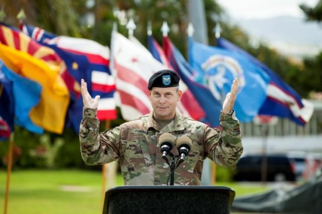 Col. Thomas J. Tickner, newly appointed commander of the Pacific Ocean Division, pledges to continue serving our nation by passionately pursuing the needs of the region. Tickner became the 33rd commander of the U.S. Army Corps of Engineer division serving the Pacific, at a ceremony, July 27, at historic Palm Circle, Fort Shafter, Hawaii.