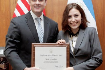 Army employee receives U.S. Embassy award in Argentina
