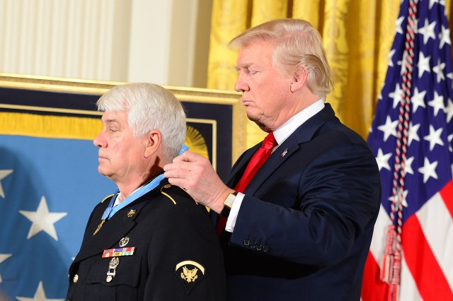 President Donald J. Trump hosts the Medal of Honor ceremony for former U.S. Army Spc. 5 James C. McCloughan at the White House in Washington, D.C., July 31, 2017. McCloughan was awarded the Medal of Honor for distinguished actions as a combat medic assigned to Company C, 3rd Battalion, 21st Infantry Regiment, 196th Infantry Brigade, Americal Division, during the Vietnam War near Don Que, Vietnam, from May 13-15, 1969.