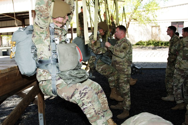 Soldiers participate in suspended harness training to ensure the new Integrated Head Protection System (IHPS) is suitable when performing canopy control and emergency procedures during operational testing.