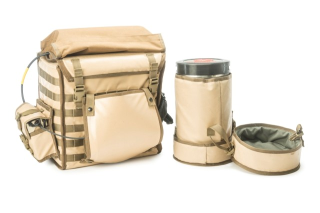 "The Golden Hour Ambulatory Rescue Pack, or ""Golden HARP,"" developed at Natick Soldier Research, Development and Engineering Center, is designed to keep medical supplies cool in hot climates."