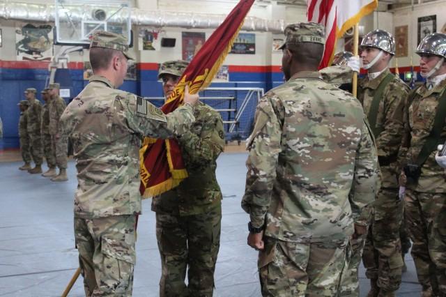 Incoming 595th Transportation Brigade Commander, Col. J Bradley Swift, accepted the colors from SDDC Commanding General, Maj. Gen Kurt Ryan.