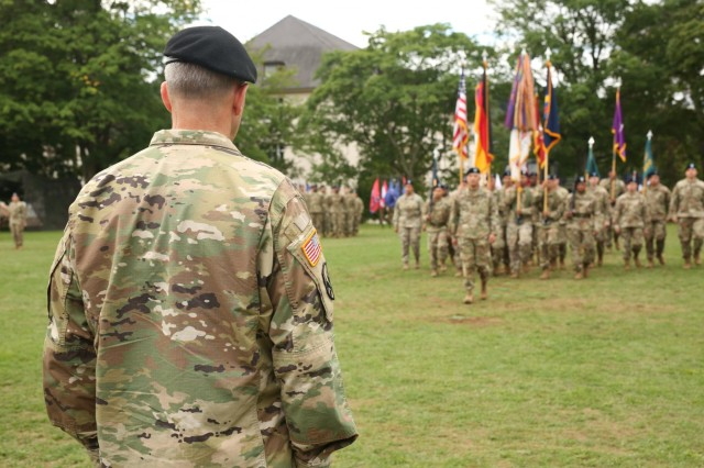 Brig. Gen. Steven Ainsworth looks out towards the Soldiers of the 7th Mission Support Command during the 7th MSC change of command ceremony Aug. 4, 2017 on Daenner Kaserne in Kaiserslautern, Germany. Ainsworth turned command over to Brig. Gen. Frederick R. Maiocco Jr. during the ceremony.