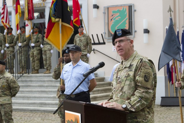 U.S. Army Maj. Gen. John W. Baker, commander of U.S. Army Network Enterprise Technology Command, speaks during the 5th Signal Command (Theater) inactivation ceremony Aug. 4, 2017, at Clay Kaserne in Wiesbaden, Germany.