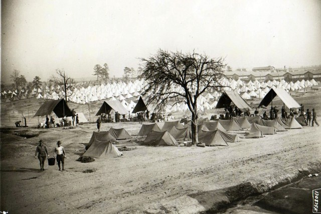 After the National Guard was drafted into the U.S. Army on August 5, 1917, Soldiers mustered at their home stations and mobilized into several training camps across the United States prior to their deployment to Europe. Here, Camp Wadsworth, in Spartanburg, S.C., is packed with tents.