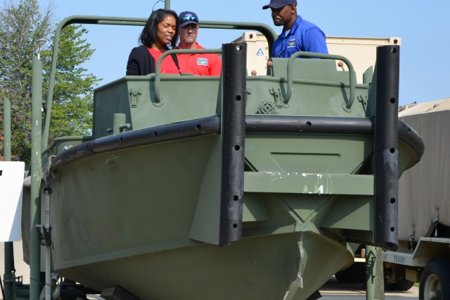 The Acting Army Acquisition Executive, Steffanie Easter, was briefed on the new XM30 Bridge Erection Boat, which will replace the 30-year-old legacy Mk II BEB platform (pictured here.)  The new BEB represents an important part of the Army's incremental modernization efforts.