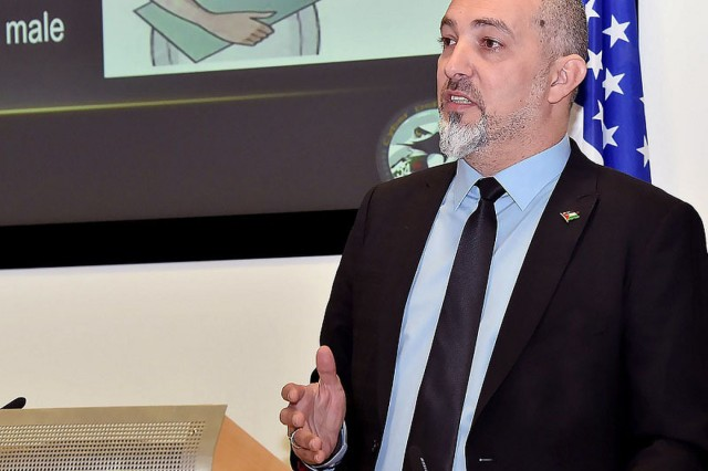 "Lt. Col. Sameer Marouf Masri, director of the Counter Cyber Terror Department of the Palestinian Authority, presents ""How Women Prevent Terrorism and Violent Extremism"" during the Global Counterterrorism Alumni Community of Interest Workshop Jan. 11, 2016 at the George C. Marshall European Center for Security Studies in Garmisch-Partenkirchen, Germany. Masri credits the Marshall Center's PTSS in helping him find a counterterrorism model that made all the difference in stopping terrorists from radicalizing the youth in the Palestinian Authority. (Marshall Center Photo by Karl-Heinz Wedhorn)"