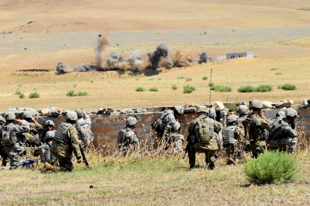 Soldiers of the Georgia Army National Guard's 810th Engineer Company conduct a controlled detonation at the remote Vaziani Training Area. The 810th is training with Georgian Armed Forces in support of Exercise Noble Partner 2017.