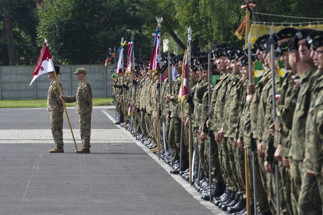 Capt. William Partin, Commander of Troop B, 4th Squadron. 10th Cavalry Regiment and his Troop stand shoulder-to-shoulder with the Polish 10th Armored Cavalry Brigade Soldiers the 73rd commemoration ceremony August 4th, 2017, at the Garrison Square in Swietoszow, Poland. The 4th Squadron, 10th Cavalry Regiment, is on a nine-month deployment, rotating through the European theater in support of Operation Atlantic Resolve. This U.S. led effort in Eastern Europe demonstrates the U.S. commitment to strengthening the defensive and deterrent capabilities of the NATO Alliance while improving the professional relationship.