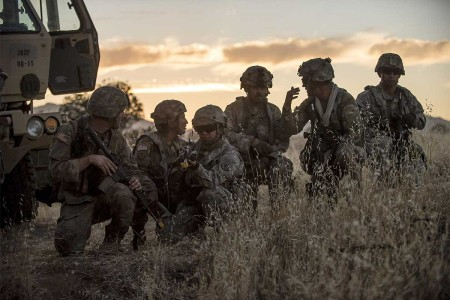 U.S. Army Reserve military police Soldiers conduct a leader reconnaissance the night before a morning mission during a Combat Support Training Exercise at Fort Hunter Liggett, Calif., July 22, 2017.