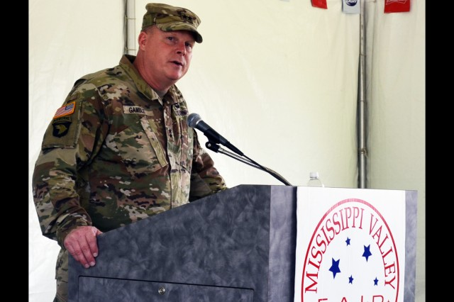 Maj. Gen. Duane Gamble, commanding general, U.S. Army Sustainment Command, speaks at the Veterans Tent during the Mississippi Valley Fair Aug. 5.