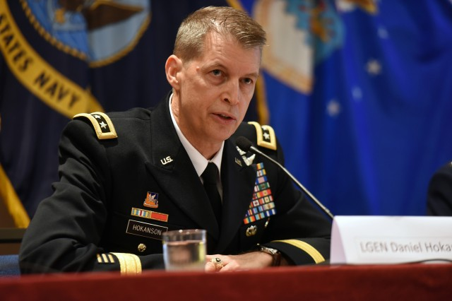 Army Lt. Gen. Daniel Hokanson, the vice chief of the National Guard Bureau, addresses the Reserve Chiefs' Panel at the Reserve Officers Association, Arlington, Virginia, July 22, 2017. Hokanson, who was confirmed as vice chief by the U.S. Senate in September, said the unpredictable environment we live in today means Guard members need to embrace their motto 'Always Ready, Always There' now more than ever.