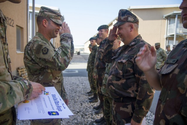 Col. Bradley Heston, 361st Civil Affairs Brigade Commander, thanks Civil Military Cooperation partners from Bulgaria, Hungary and Romania for their teamwork with U.S. Army civil affairs teams during Saber Guardian 17 at Novo Selo Training Area, July 21 (U.S. Army Reserve photo by Capt. Jeku Arce, 221st Public Affairs Detachment)