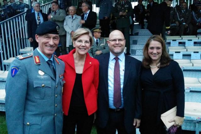 From left to right: Brig. Gen. Kai Rohrschneider, U.S. Army Europe chief of staff; Senator Elizabeth Warren; Chargé Jeff Hovenier; and U.S. Consul General Jen Gavito.