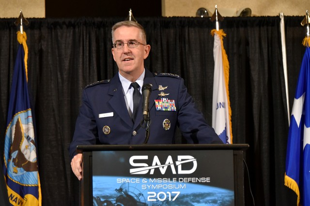 "U.S. Air Force Gen. John E. Hyten, commander, U.S. Strategic Command, speaks at the 20th annual Space and Missile Defense Symposium on ""Enabling Decisive Action in a Multi-Domain Environment"" at the Von Braun Center, Huntsville, Alabama, Aug. 8."