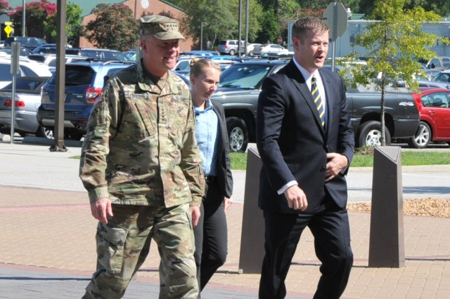 Acting Secretary of the U.S. Army Ryan McCarthy visited U.S. Army Training and Doctrine Command Aug. 10 to meet with senior leaders and learn more about the command's mission and priorities. The visit also focused on the requirements necessary to grow the U.S. Army as well as the capabilities required for Multi-Domain Battle and the future force.