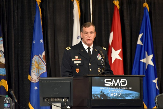 Lt. Gen. James H. Dickinson, commanding general, U.S. Army Space and Missile Defense Command/Army Forces Strategic Command, speaks at the 20th Space and Missile Defense Symposium at the Von Braun Center, Huntsville, Alabama, Aug. 9.