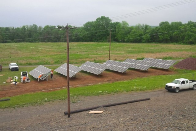 Installation of the Beltzville Lake and Dam 40 KW solar array.