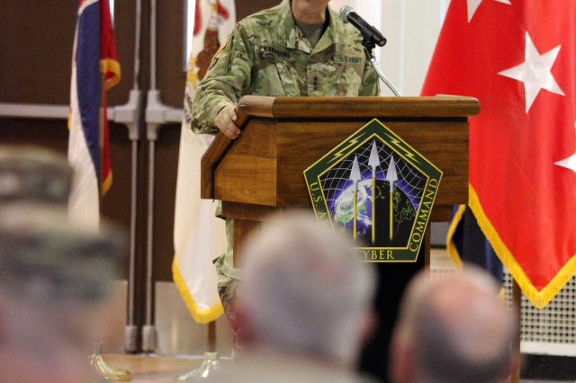 FORT GEORGE G. MEADE, Maryland -- Lt. Gen. Paul Nakasone, commanding general of U.S. Army Cyber Command, presides at a transfer of authority ceremony between the Army National Guard's Task Force Echo and 169 Cyber Protection Team, , at the McGill Training Center here, Aug. 15.