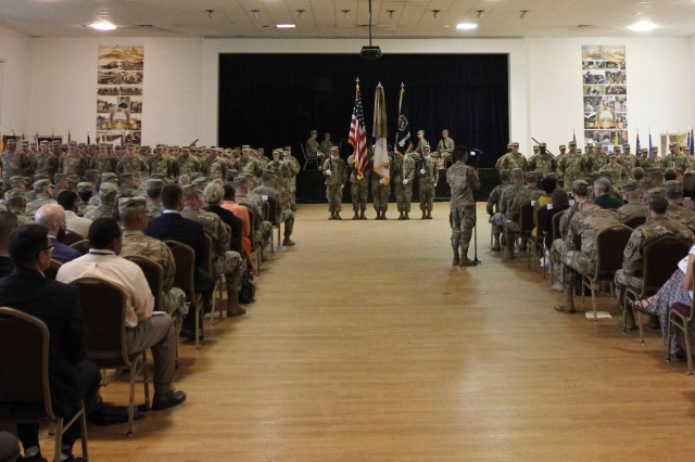FORT GEORGE G. MEADE, Maryland -- Army National Guard Soldiers of the 169 Cyber Protection Team and Task Force Echo participate in a transition of authority ceremony at the McGill Training Center here, Aug. 15.