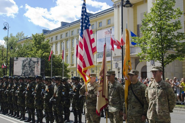 Soldiers assigned to the 497th Combat Sustainment Support Battalion participated in the 97th anniversary of the Battle of Warsaw Aug. 15, 2017, in Warsaw, Poland. This national holiday in Poland, known as the Feast of the Polish Armed Forces, included Soldiers from Canada, Estonia, Romania, United States and the United Kingdom. As part of the unified Alliance, the NATO Soldiers and their collective combat vehicles participated in the annual Polish parade to celebrate that historic victory and honor active duty services members, veterans and fallen Soldiers.