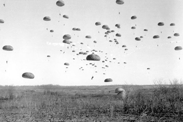 101st paratroopers litter the sky during one of many airborne operations during World War II.