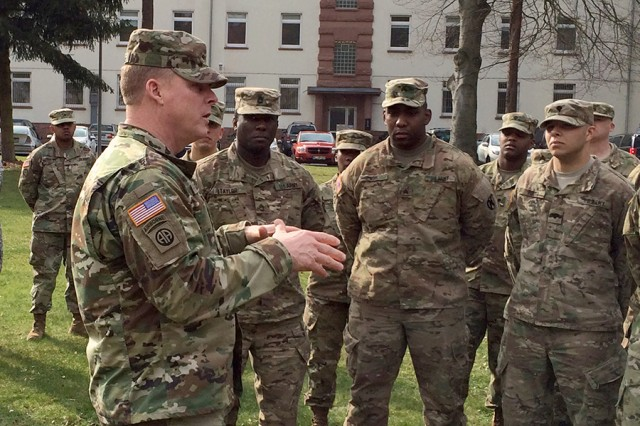 Maj. Gen. Duane A. Gamble, commanding general of the 21st Theater Sustainment Command, speaks to 1st Human Resources Sustainment Center Soldiers about the importance of having two strong teams for U.S. Army Central and U.S. Army Europe during the unit's 2016 deployment in support of U.S. Army Central.