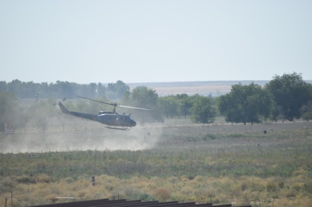 A Bell Utility Helicopter 1 Iroquois lifts off for a simulated medical evacuation mission July 31, 2017, during Exercise Steppe Eagle 17 at Illisky Training Center near Almaty, Kazakhstan.