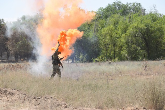 A Kazakhstani soldier with the Kazakhstan Peacekeeping Battalion uses orange smoke to mark the landing zone and guide in a helicopter for a simulated medical evacuation during a field training exercise Aug. 1, 2017, during Exercise Steppe Eagle 17 at Illisky Training Center near Almaty, Kazakhstan.