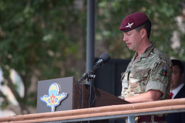 Maj. Alex Hortop, chief of staff of the 160 Brigade, British Army, remarks on the success and the more than 10 years of partnership of Exercise Steppe Eagle 17 during the closing ceremony Aug. 4, 2017, at Illisky Training Center near Almaty, Kazakhstan. Exercise Steppe Eagle is a premier multinational exercise focused on peacekeeping and peace support operations, while building relationships and mutual understanding between partner nations.