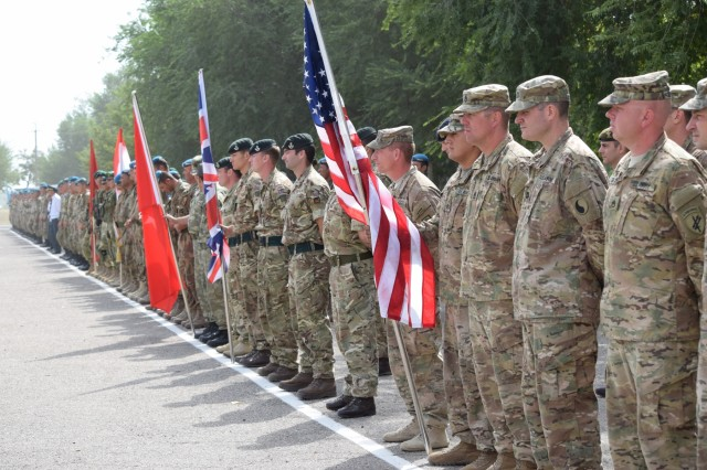 U.S. Army Soldiers and participants from five additional partner nations form up for the Exercise Steppe Eagle 17 closing ceremony Aug. 4, 2017, at Illisky Training Center near Almaty, Kazakhstan. Exercise Steppe Eagle is a premier multinational exercise focused on peacekeeping and peace support operations, while building relationships and mutual understanding between partner nations.