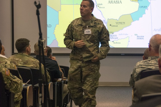 Col. Stephen Elder, Fort Jackson Garrison Commander, welcomes attendees to the 2017 Fort Jackson Regional Active Shooter Training Aug. 14. Elder cautioned that Fort Jackson cannot be complacent when dealing with terrorist incidents.