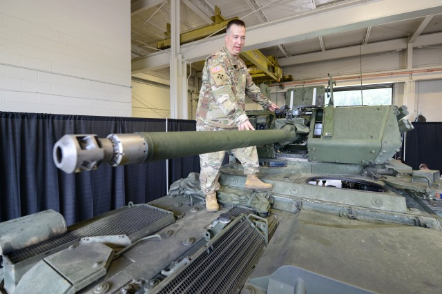 Sgt. 1st Class Nicholas Young, senior NCO of the Army's Stryker combat vehicle program, discusses the 30 mm cannon on the new Infantry Carrier Vehicle-Dragoon vehicle during a media day at Aberdeen Proving Ground, Md., Aug. 16, 2017. Soldiers with 2nd Cavalry Regiment spent six weeks at Aberdeen testing and training on the new Stryker vehicle and a remote Javelin anti-tank missile system, which are expected to head to Germany early next year for additional user testing.