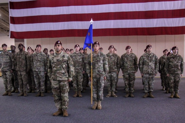 Soldiers of Headquarters Company, 3rd Battalion, 160th Special Operations Aviation Regiment stand at attention after receiving the 2016 United States Army Award for Maintenance Excellence during an awards ceremony Aug. 14, 2017 at Hunter Army Airfield. The AAME program is conducted each year to recognize Army units that have demonstrated excellence in maintenance operations. During the ceremony, Soldiers of 3-160th maintenance team were recognized for their hard work that led to the unit receiving the award. (U.S. Army photo by Staff Sgt. Nikki Felton/ released)